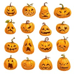 Pumpkins with emotional faces for Halloween party