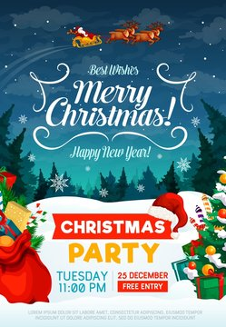 Christmas holiday party invitation poster