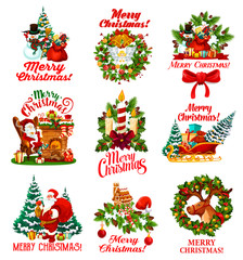 Christmas wishes vector greeting icons