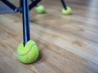Tripod and tennis ball