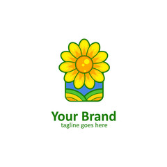 Sun flower field logo icon in square window frame yellow green style