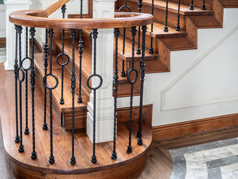 Classic vintage staircase in contemporary house