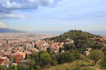 Barcelona, Spain. View overlooking the town