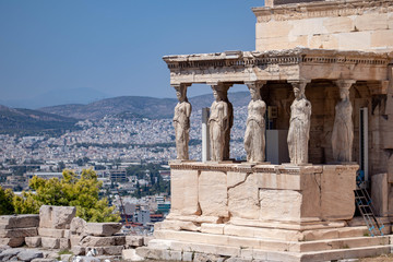 Caryatid Statues on top of Acropolis, Athens, Greece