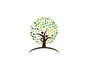 family tree ilustration logo template