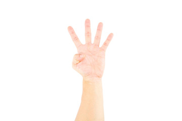 Asian male hand showing four fingers  on white background.