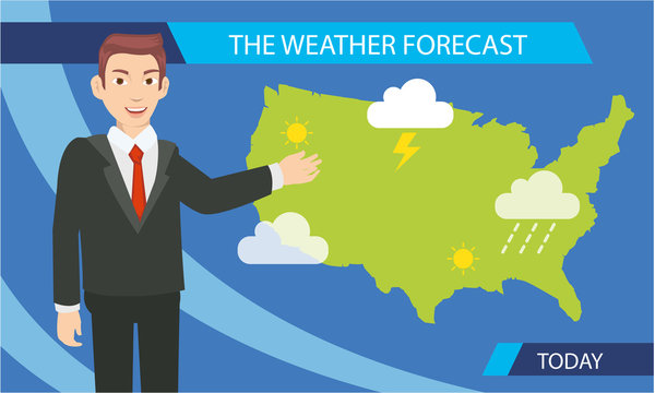 Cartoon of weather prediction for today are announce by the reporter