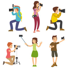 Photographer taking pictures with different poses