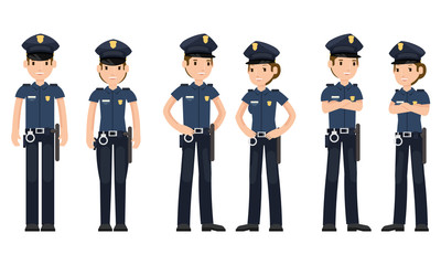 Set of police officers with the weapon