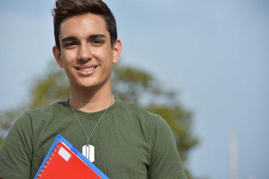 Hispanic Male Teen Military Student And Happiness