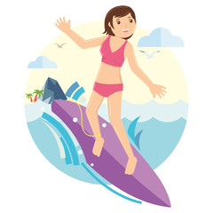 Young Girl surfing on the waves