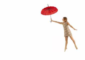 Happy woman flying with umbrella, isolated on white background