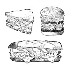 illustration of sandwich burger set. Hand drawn food picture. Fast food,junk food. Food vector picture isolated on white background.Vector illustration in sketch style. Hand drawn design elements.
