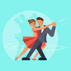 Beautiful couple dancing tango vector flat illustration