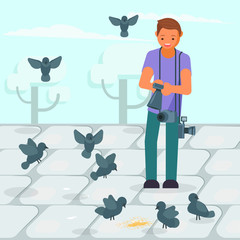 Photographer taking picture of pigeons vector illustration