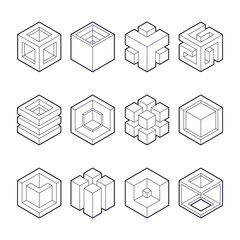 Abstract cubic collection. abstract 3d cubic design elements. Sacred cubic set. Original outline vector (non expanded outline).