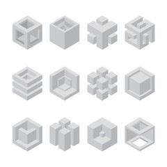 Abstract cubic collection. abstract 3d cubic design elements. Sacred cubic set.