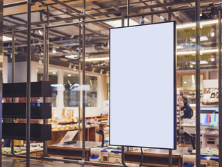 Blank Poster frame template in Supermarket blur People Advertising banner