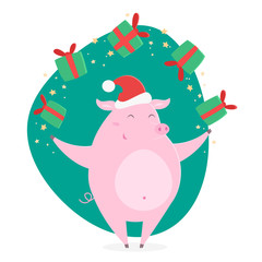 Cartoon happy pig with Christmas gifts. The symbol of Chinese New Year 2019