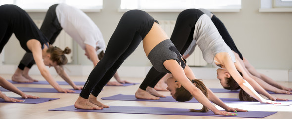 Group of young sporty people practicing yoga lesson, doing Downward facing dog exercise, adho mukha shvanasana pose, friends working out, indoor, students training in club, studio. Well-being concept