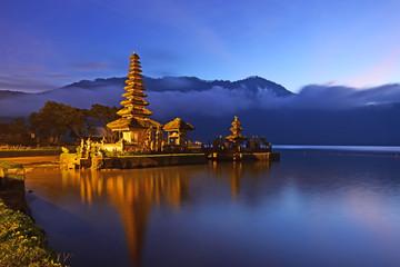 Sunrise over beautiful Pura Ulun Danu Bratan temple in Bali Indonesia