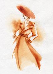Fototapete - beautiful woman. fashion illustration. watercolor painting