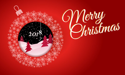 horizontal red greeting card. White Christmas ball made of snowflakes with a picture inside night winter forest text Merry Christmas 2018.