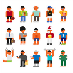 various kind of character icon set. flat design style vector graphic illustration