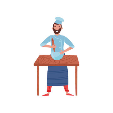 Young man cooking food on wooden table. Bearded baker mixing dough in bowl. Flat vector illustration