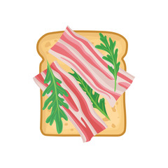 Flat vector icon of delicious sandwich for breakfast or lunch. Toasted bread with slices of bacon and greens. Tasty snack