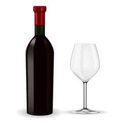 Bottle of red wine with empty glass