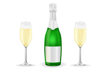 Bottle and two glasses of sparkling wine or champagne
