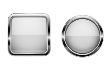 White buttons with chrome frame. Round and square glass shiny 3d icons