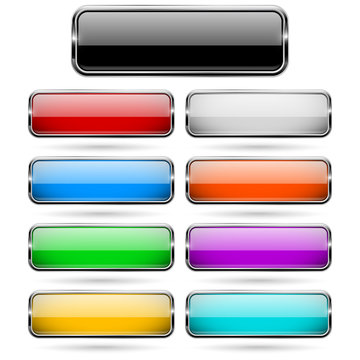 Colored 3d glass buttons with chrome frame