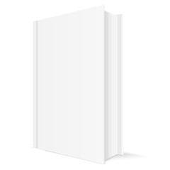 Book mockup. White vertical template with blank cover