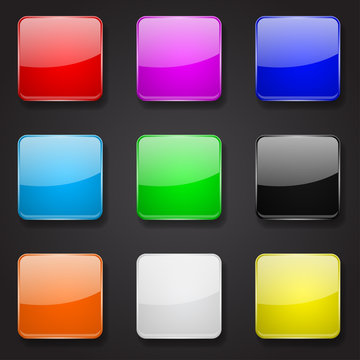Colored glass 3d buttons. Square icons on black background
