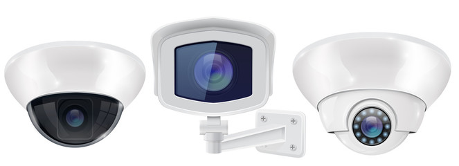 CCTV security camera. Ceiling and wall mounted devices