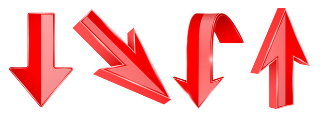 Red arrows set. 3d UP and DOWN web icons