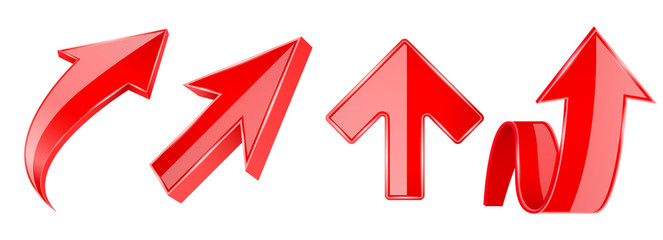 Arrows set. 3d red UP icons