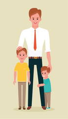 Happy young family. Dad with two sons together. Vector illustration in cartoon flat style on beige background