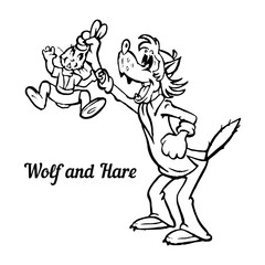 Cartoon character, wolf caught a hare, black on white background,