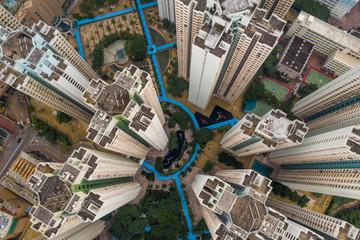 Top down view of Hong Kong city