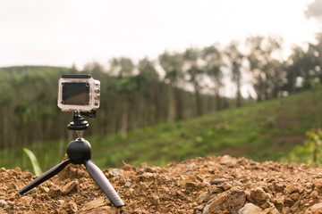 The action camera is recording video in the countryside of Thailand