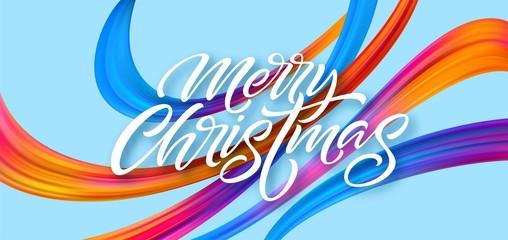 Merry Christmas hand drawn lettering banner design