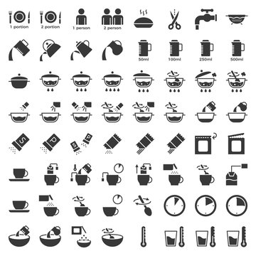 cooking instruction icon, material for use in package and container