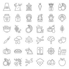 Thanksgiving icon big set, editable stroke outline