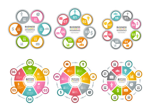 Circle shapes for infographics. Business radial charts. Vector radial diagram and chart step illustration