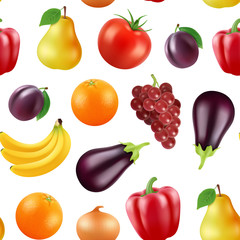 Vector realistic fruits and berries pattern or background illustration. Vegetarian background fresh, berry and eggplant