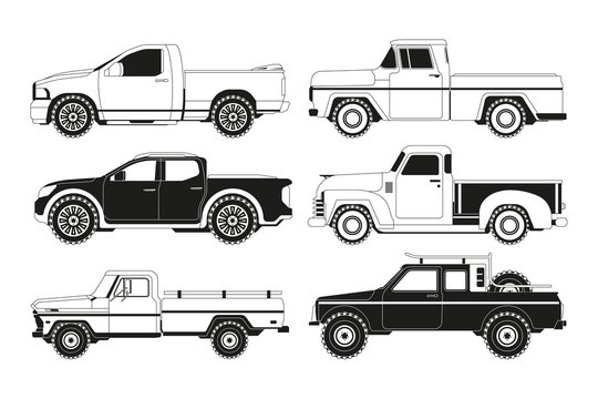 Pickup truck silhouettes. Black pictures of various automobiles. Transport pickup 4x4 collection, monochrome black, vector illustration