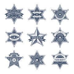 Security sheriff badges. Police shield and officers logo texas rangers vector symbols. Illustration of sheriff law, officer texas police, badge emblem